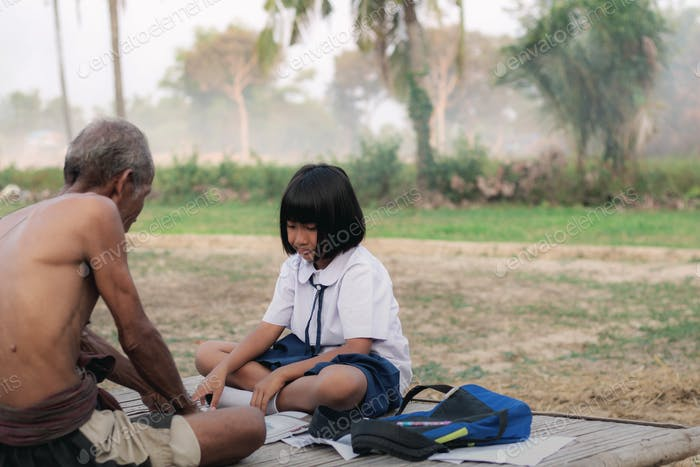student and father in countryside