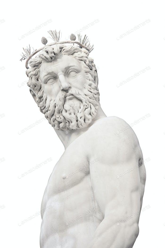 Neptun Gott mittelalterliche Brunnen Statue Detail auf weiß. Florenz, Italien.