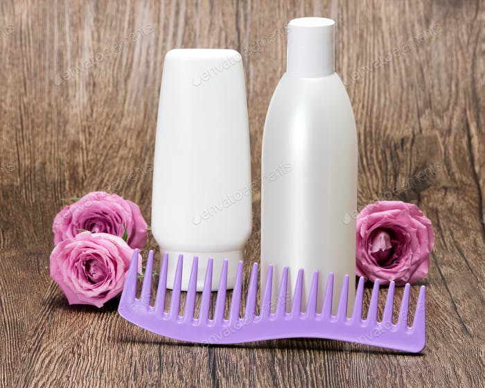 Hair beauty products and comb with roses