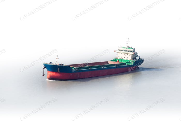 cargo ship isolated on white with clipping path