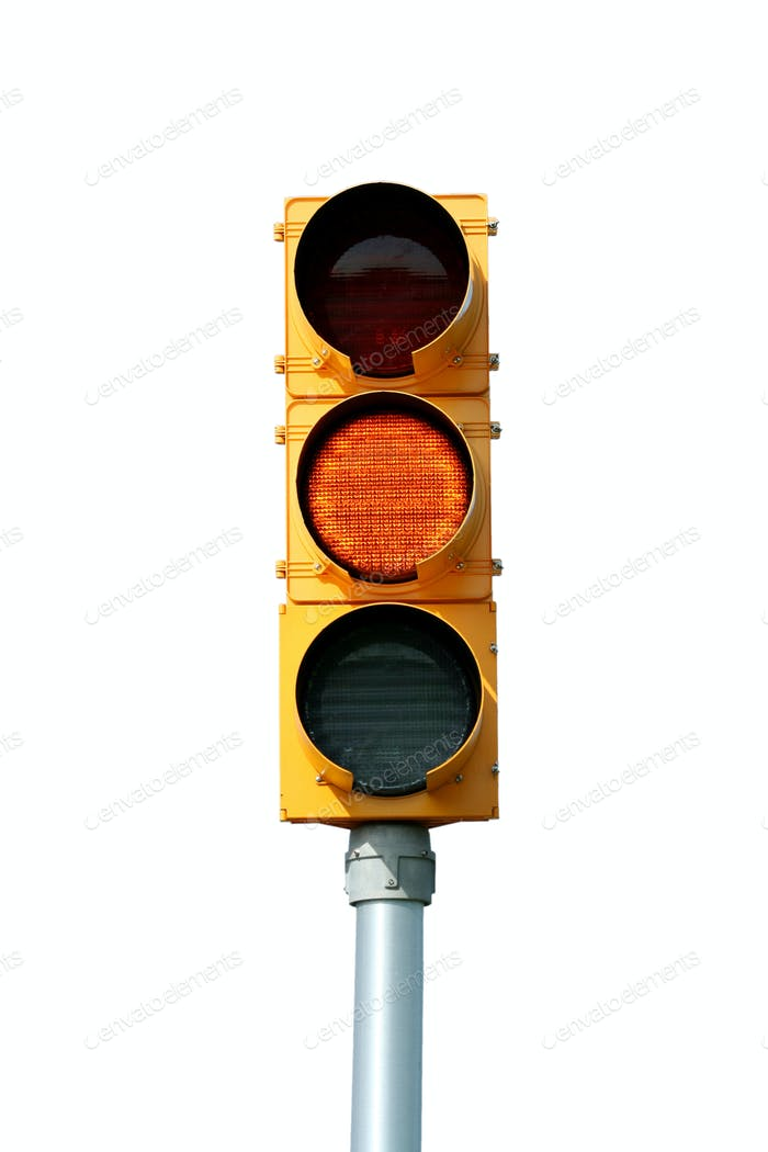 Isolated yellow traffic signal light