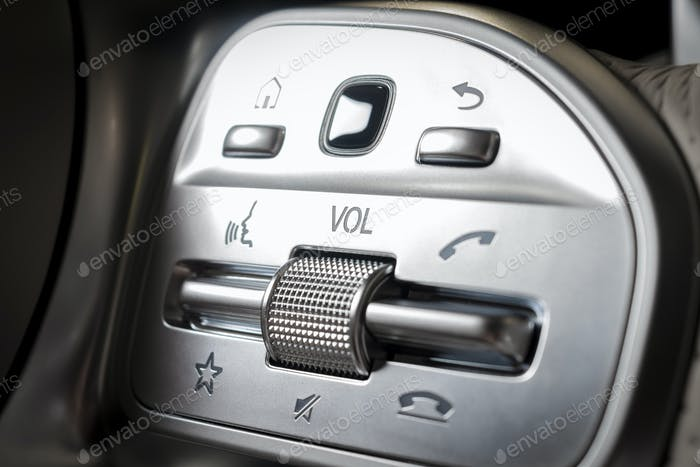 media control buttons, modern car interior details