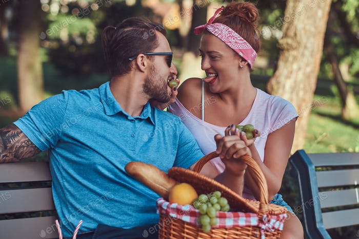 Couple wearing casual clothes during dating, having a picnic outdoors on a bench in the park.