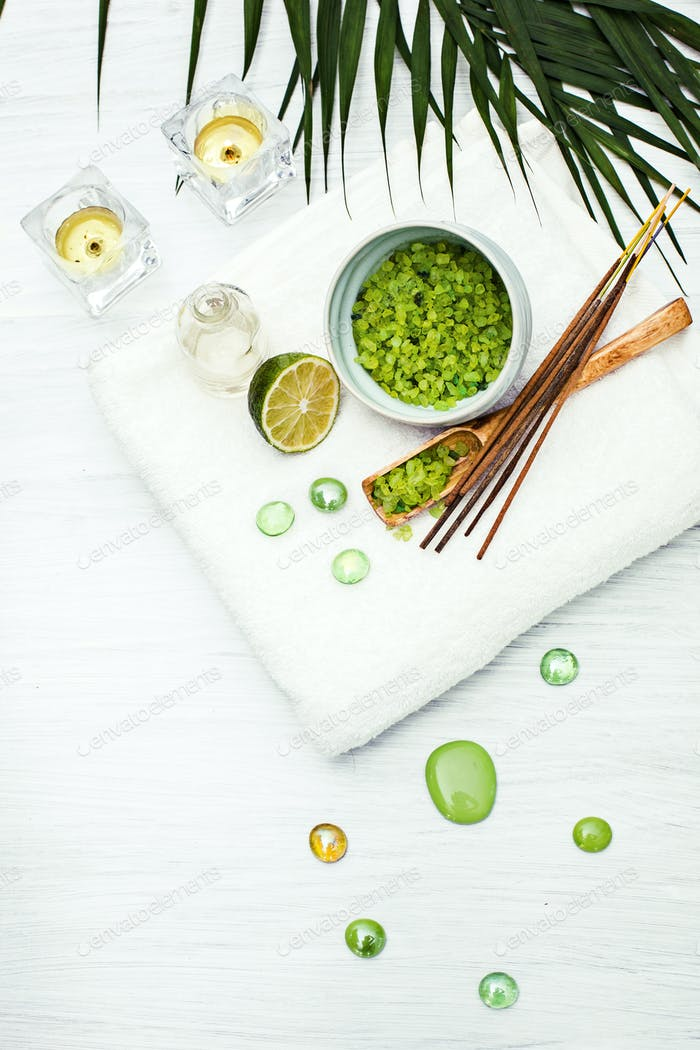 Spa setting with aroma oil, vintage style