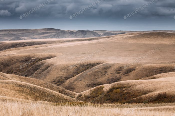 Gareja Desert, Kakheti Region, Georgia. Autumn Landscape Near Sa