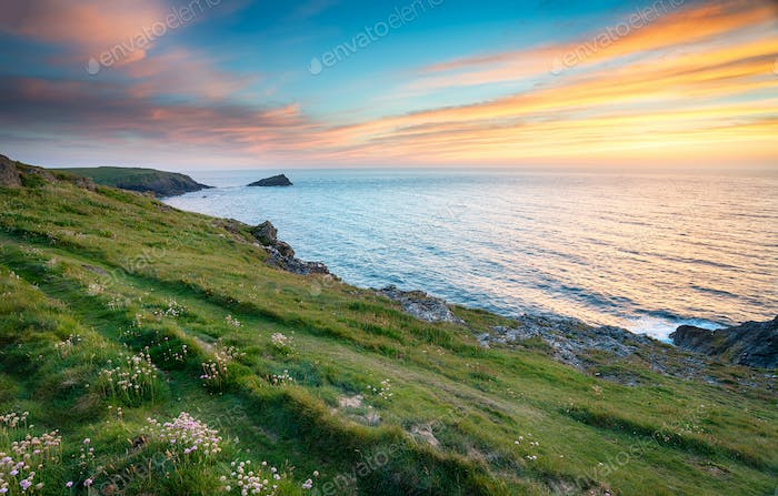 Sunset at West Pentire