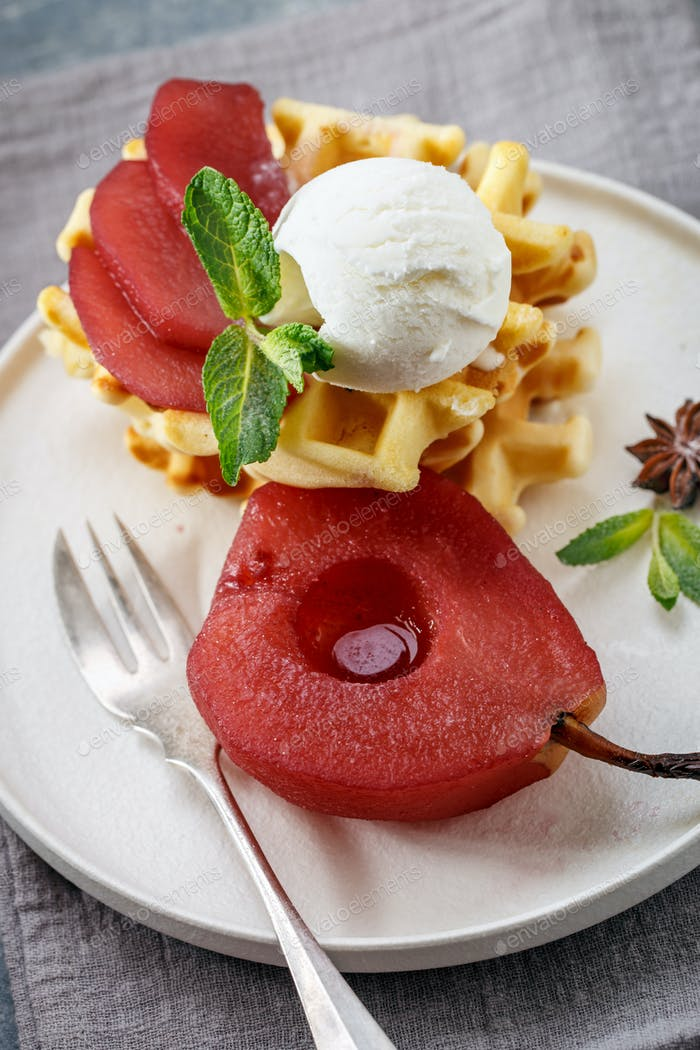 Waffles with poached pear