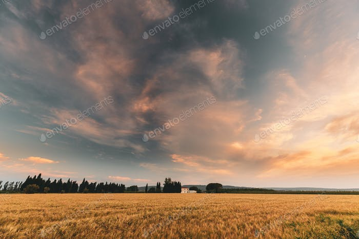 Catalonia, Spain. Summer Evening Sky Above Spanish Countryside R