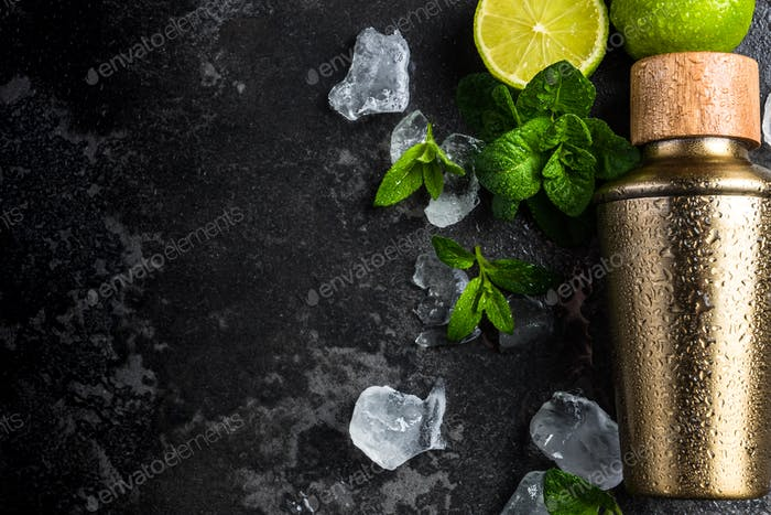 Mint and lime refreshing cocktail, border background.