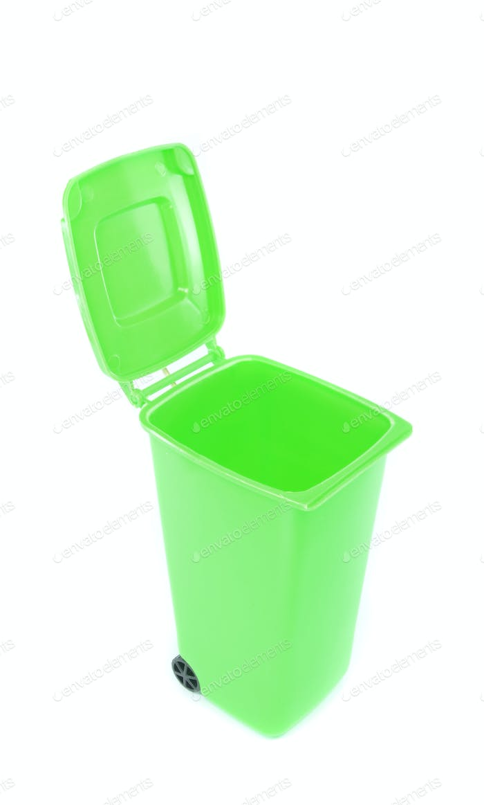 A green Recycling Wheelie Bin