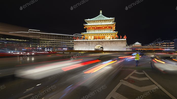 Xian bell tower at night, China.