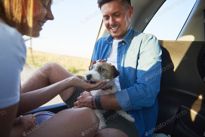 Smiling couple playing with their dog in car.