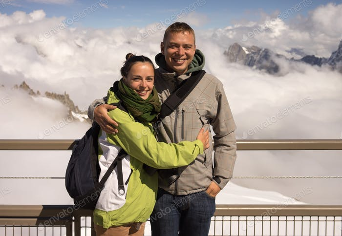 Beautiful couple on holiday on Mont Blanc