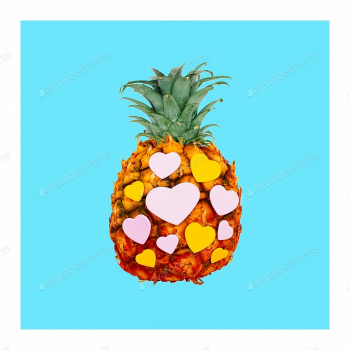 Pineapple and hearts. Minimal creative art