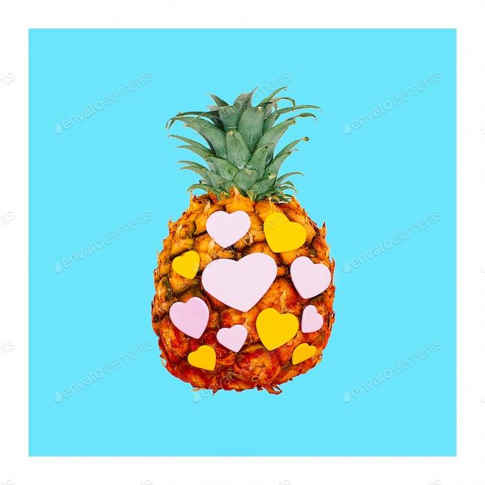 Pineapple and hearts. Minimal creative art