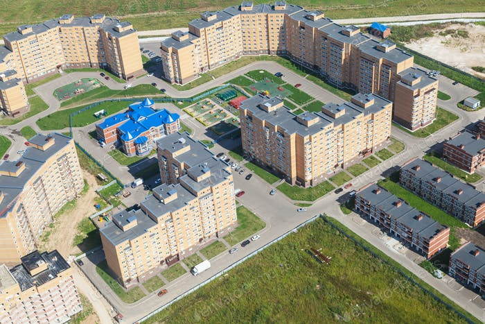 above view of new quarter in Moscow Region