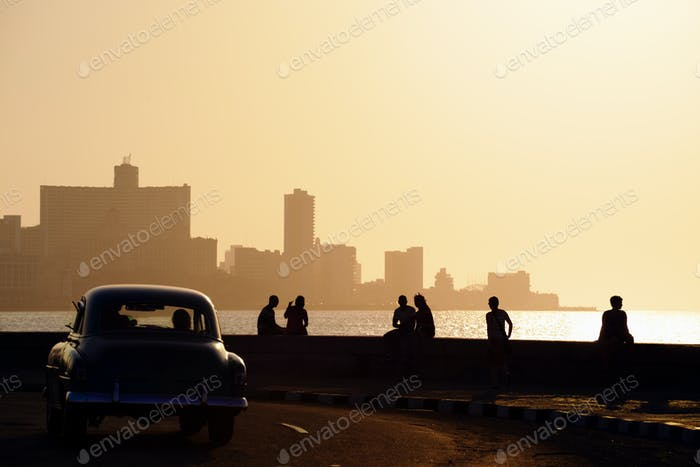 People And Skyline Of La Habana Cuba At Sunset