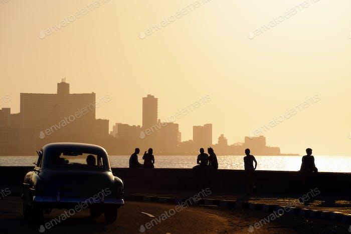 People And Skyline Of La Habana Cuba At Sunset