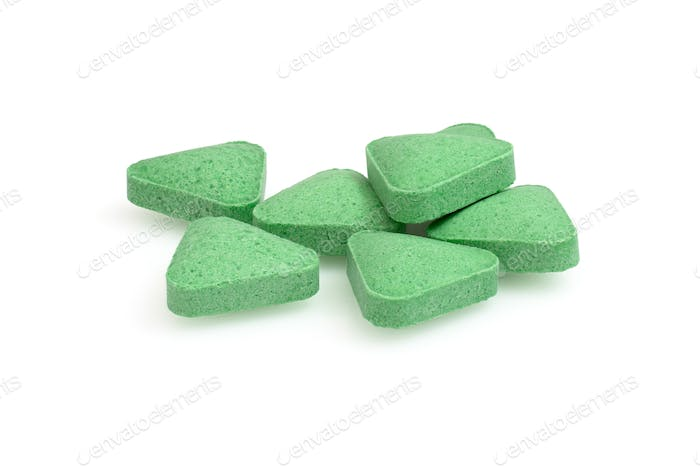 Green pills closeup macro photography