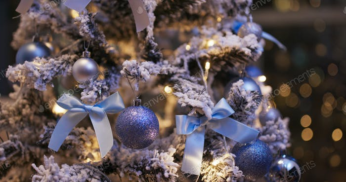 Christmas decoration ball in blue color at night