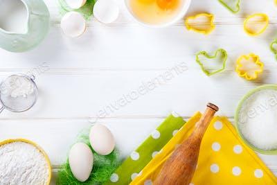 Background Baking Ingredients.Easter Baking