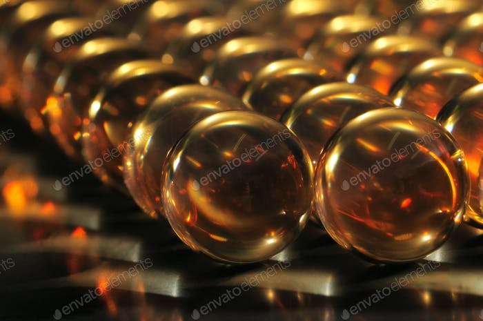 Close-up large transparent glass balls