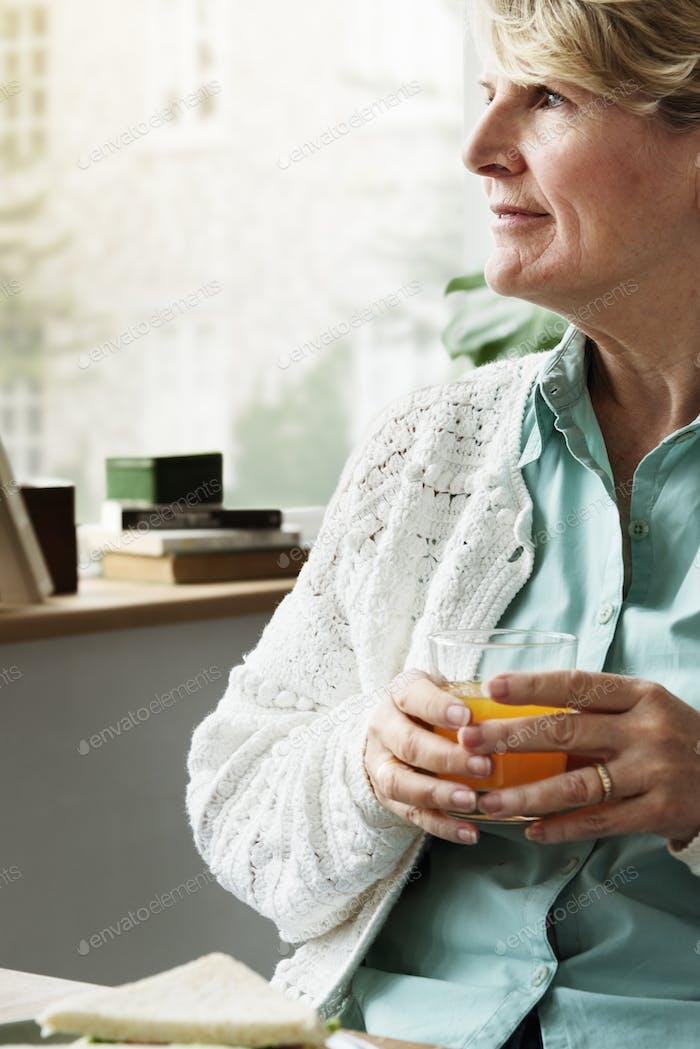 Elderly Female Grandmother Resting Relax Concept