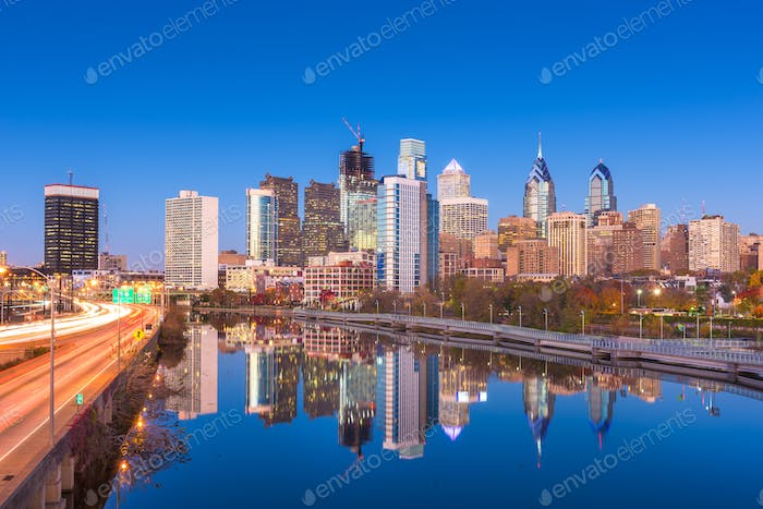 Philadelphia, Pennsylvania, USA River Skyline