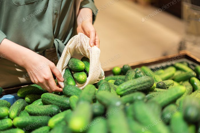 Woman chooses cucumbers at farmers market. Zero waste, plastic free concept. Sustainable lifestyle
