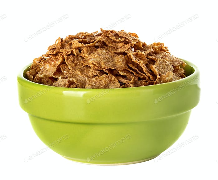 Bowl with corn flakes isolated on the white background
