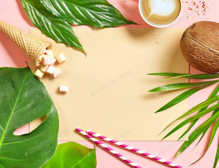 holiday background with tropical leaves