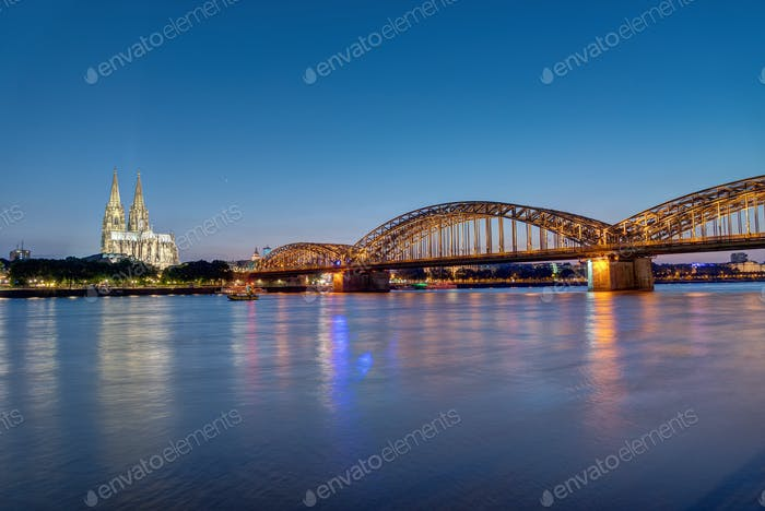 The river Rhine, the Cologne Cathedral and the Hohenzolllern bridge