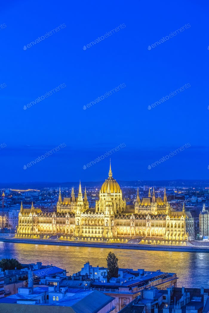 54771,View of Parliament Building illuminated at dusk, Budapest, Hungary