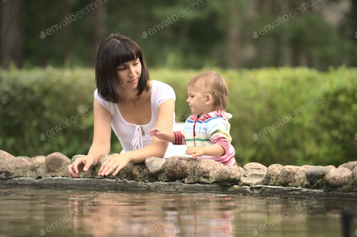 Family mother with child happy outdoors