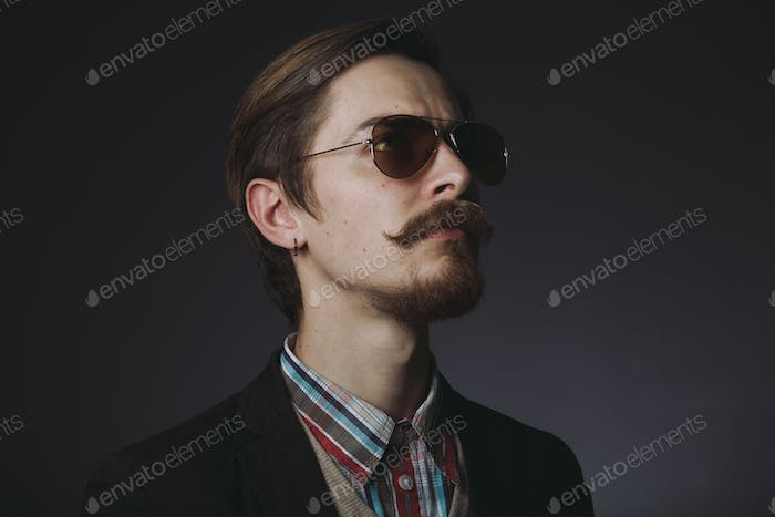 Handsome bearded stylish business man