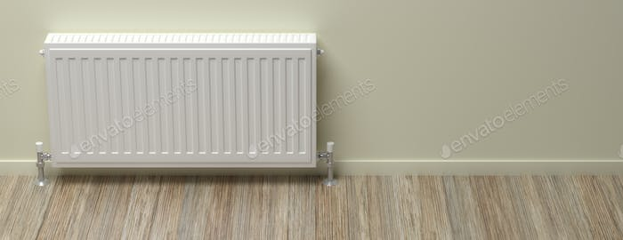 Radiator, wood floor, grey green wall background, banner. 3d illustration