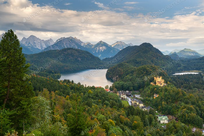 Bavarian Alps of Germany at Hohenschwangau Village and Lake Alpsee