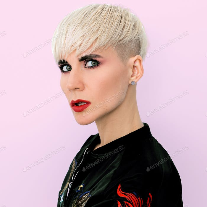 Blonde Model with short fashion haircut Tomboy style