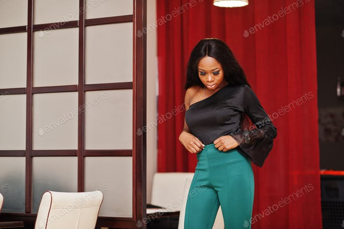 Woman in green pants