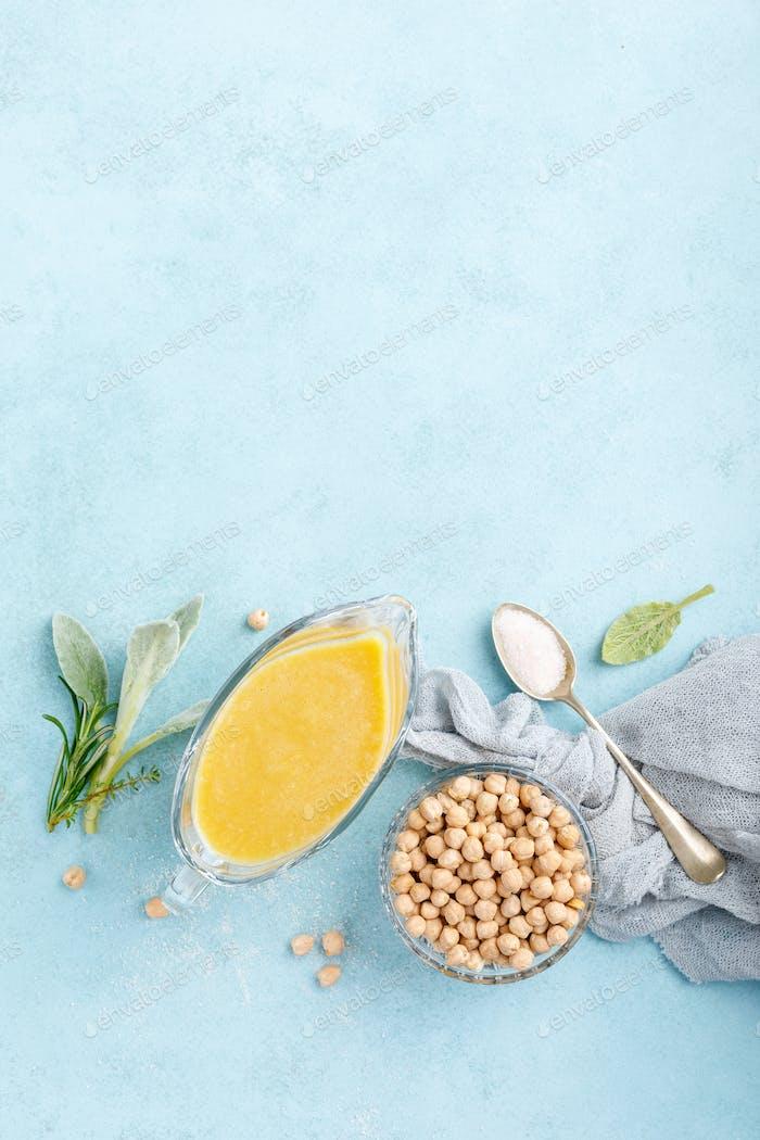 Kichererbsensoße, Hummus, Draufsicht