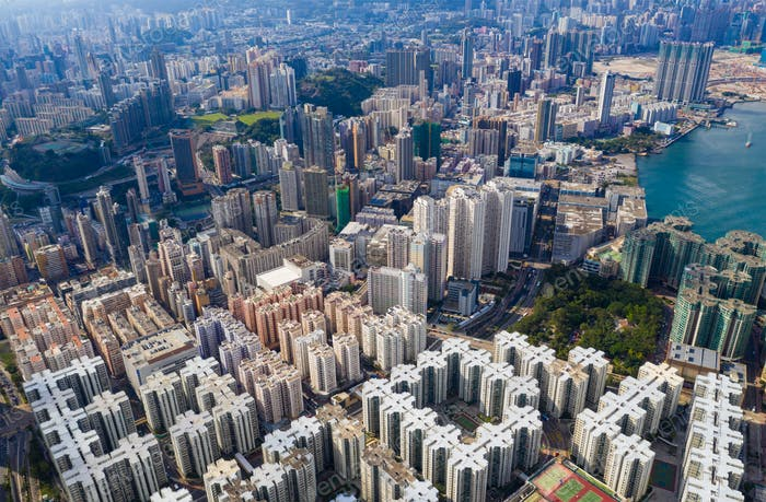 Hung Hom, Hong Kong 05 May 2020: Top view of Hong Kong city