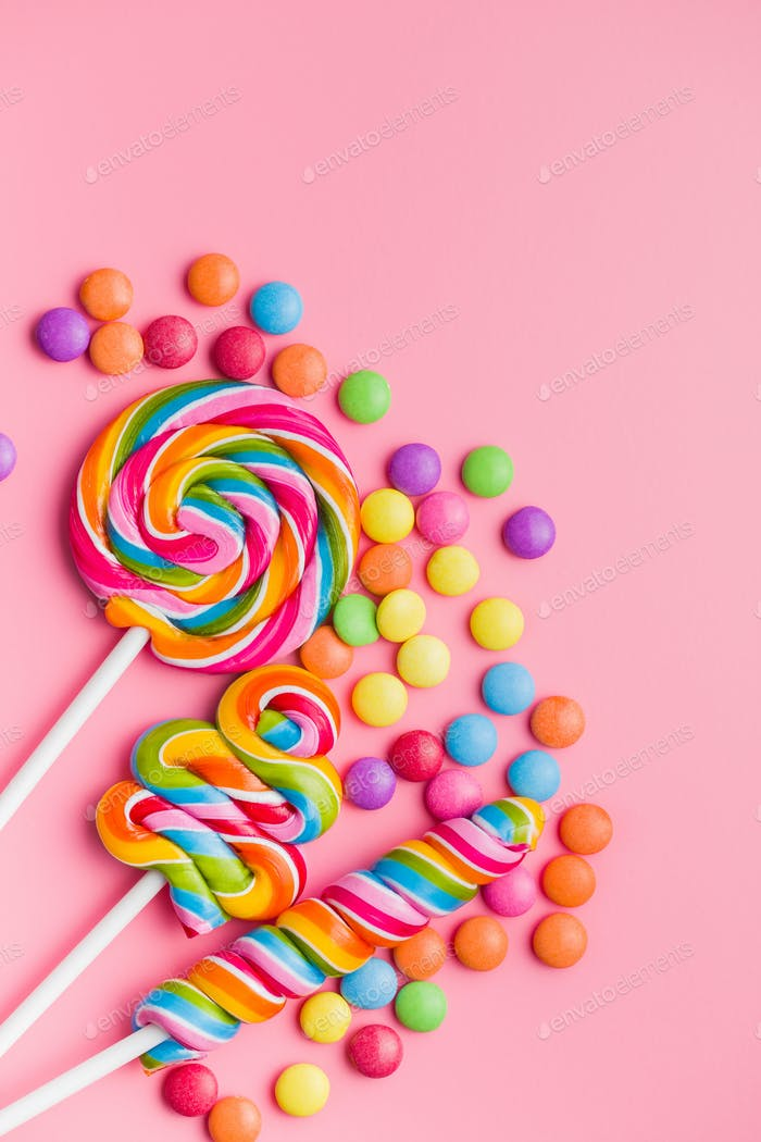 Various colorful lollipops and sweet bonbons.
