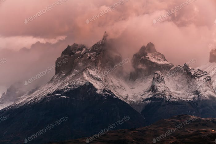 The towers of Cuernos at dawn. Torres del Paine, Argentina