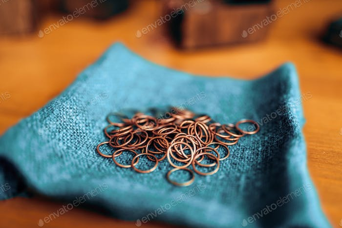Metal rings, equipment for needlework, closeup