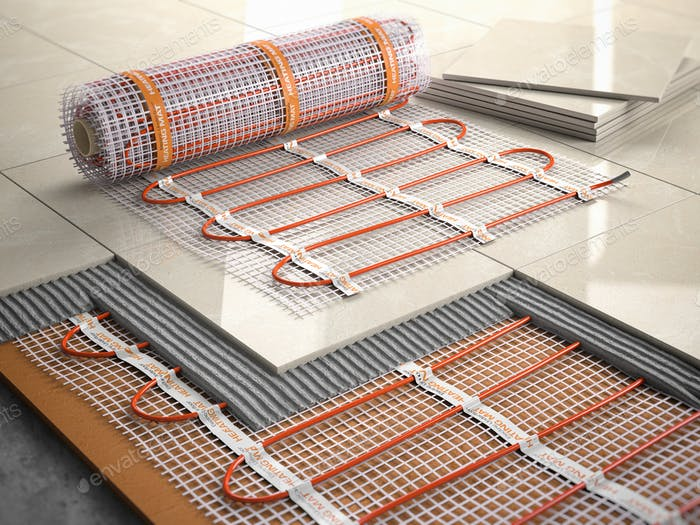 Underfloor heating installation concept. Mat elecric heating sys