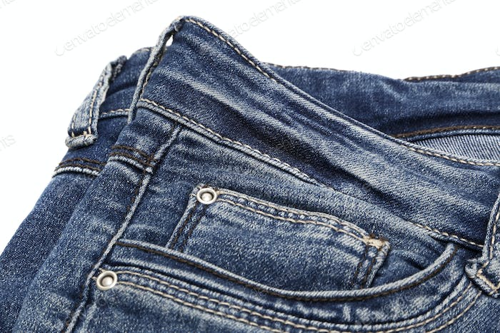 Details of dark blue jeans