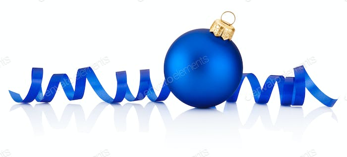 Blue Christmas bauble and curling paper Isolated on white backgr