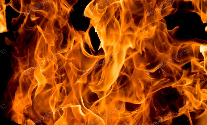 Flames of fire on black background