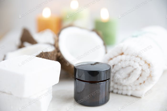 Coconut Soap and Jar of Lotion