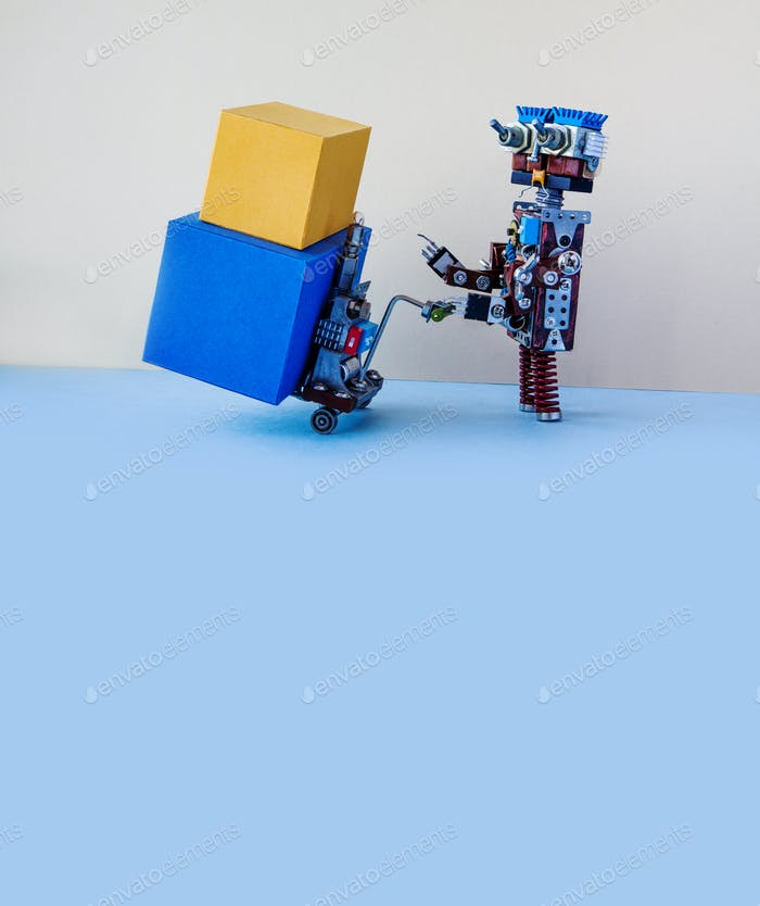 Robotic logistic delivery service concept.